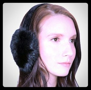 Genuine rabbit fur earmuffs black new